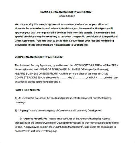 Loan Agreement Template 11 Free Word Pdf Documents Download Free Premium Templates Loan And Security Agreement Template