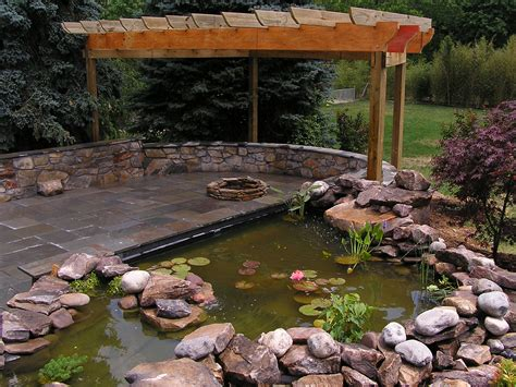 backyard koi ponds koi pond and fire pit landscape photos pinterest