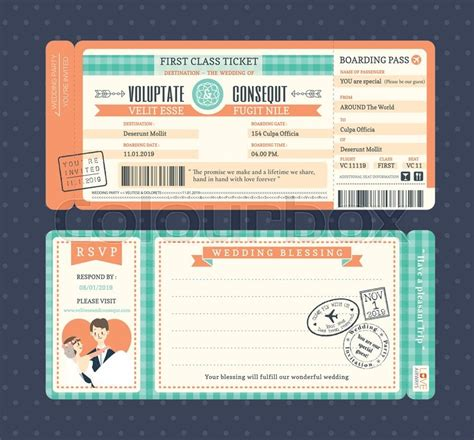 retro ticket place card template pastel retro boarding pass ticket wedding invitation