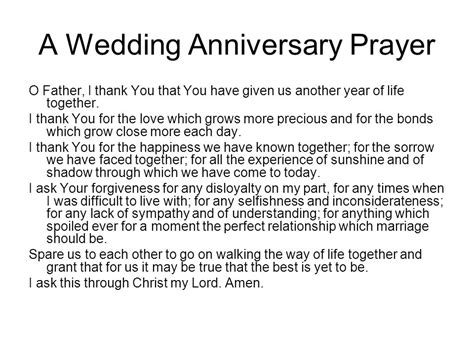 Wedding Anniversary Prayer by Various Prayers And Intentions Ppt