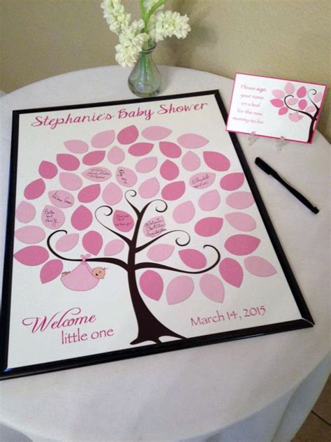 Baby Shower Keepsake Book Ideas by Baby Shower Sign In Book Ideas Rectangle White Pink Trees