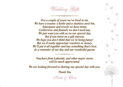 wedding thank you for no gift wording donation poems wording just b cause