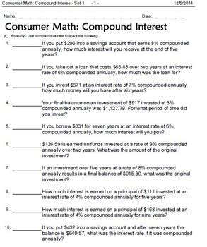 Consumer Math Word Problems Worksheet by Consumer Math Word Problems Interest Wages Shopping