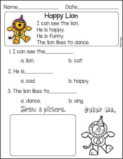 reading comprehension worksheet kindergarten beautiful