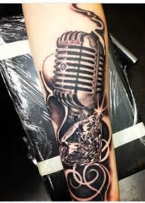 old microphone and diamond tattoo rockabilly