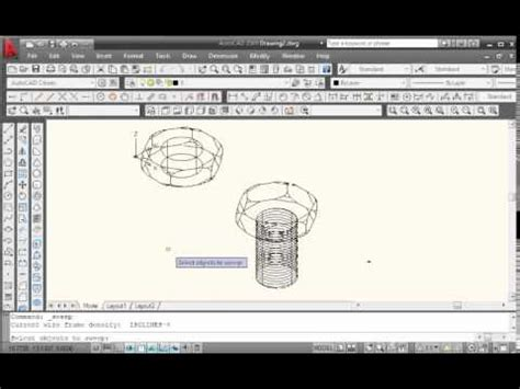 autocad nut tutorial autocad 3d bolt and nut modeling tutorial youtube