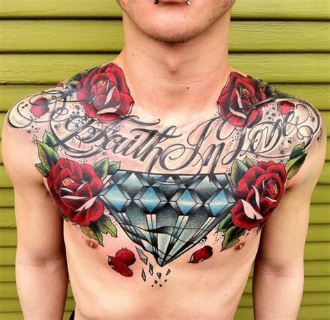 rose diamond tattoo designs diamond and red rose tattoos on chest