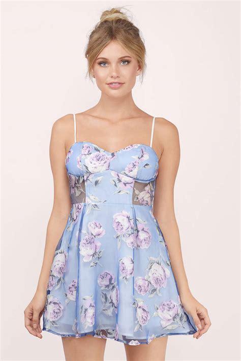 Blue Floral Dress 30165 blue floral skater dress sweetheart dress 13 00
