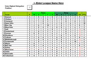 Table Spreadsheet Football Soccer League Automated Place Positioning Excel