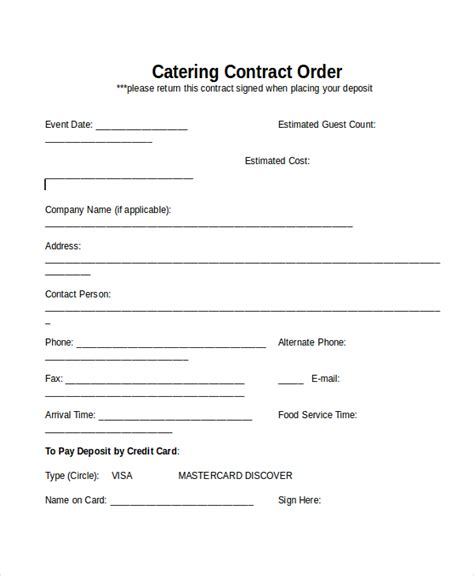 sample catering contract form 8 free documents in doc pdf