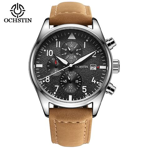 aliexpress mens watches luxury mens pilot watches chronograph 6 hands leather