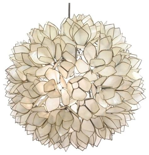 Lotus Capiz Chandelier Lotus Flower Chandelier Contemporary Pendant Lighting