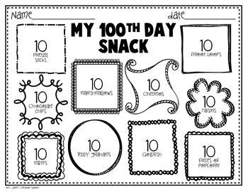 100 day snack sorting mat 100 day snack clipart clipground