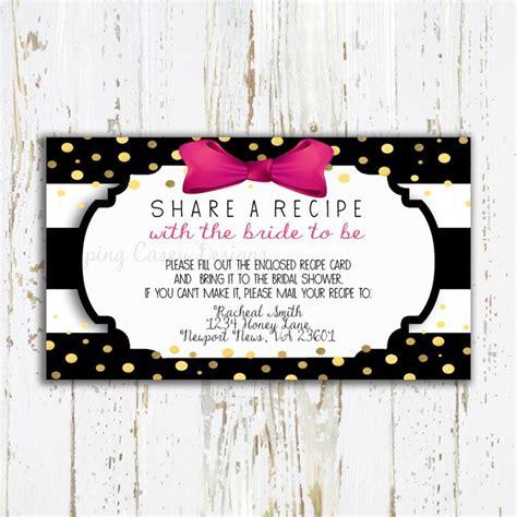 bridal shower bring recipe poem printable bring a recipe enclosure card recipe