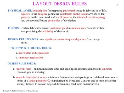 layout design rules in cmos technology layout rules