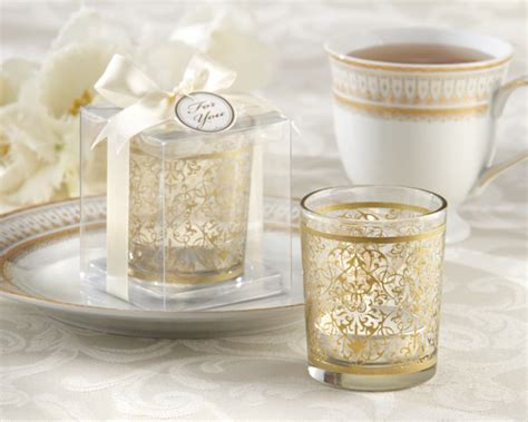 Gold Glass Tealight Holder Wedding Favor