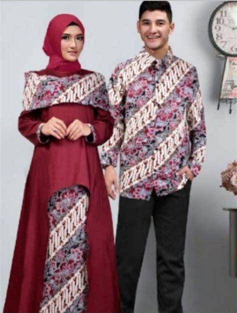 trend model baju batik gamis kombinasi terbaru