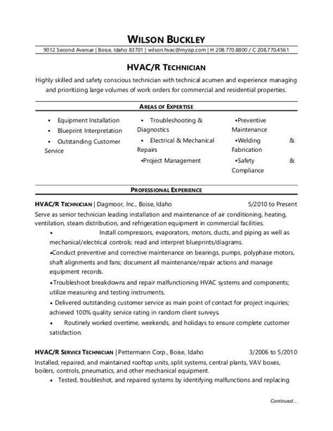 hvac technician resume hvac technician resume sle
