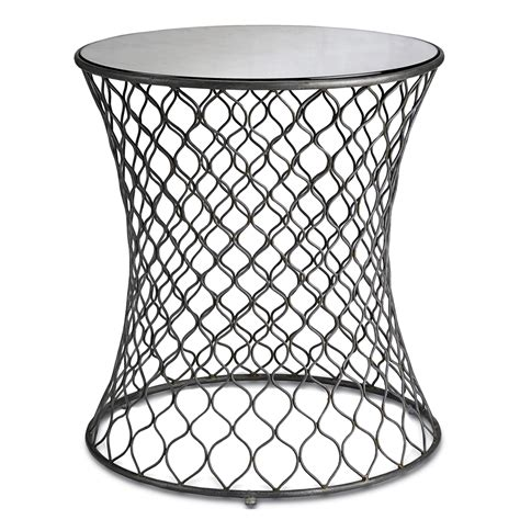 Wire Side Table Cuff Modern Wire Frame Lattice Accent Mirrored Side Table