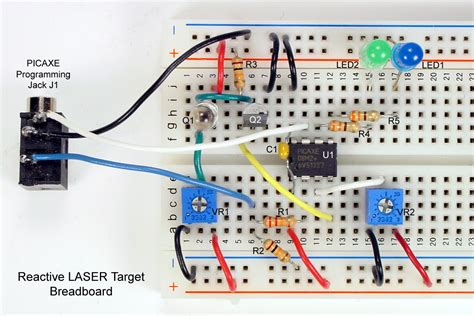 breadboard circuit create a laser detection system using a picaxe lekule