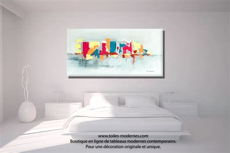 tableau deco chambre tableau fuchsia gris d 233 co design grande toile rectangle