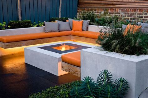 garden firepits chill out garden contemporary seating area with linear