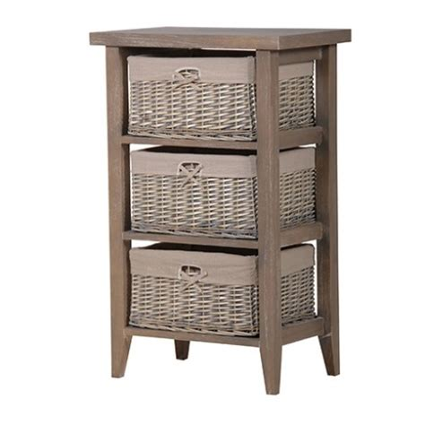 Grey Bathroom Storage Cabinet Wicker Basket
