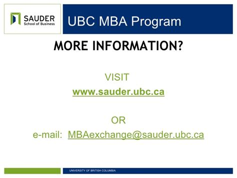 Ubc Mba Waive Gre For Doctoral by Mba Exchange Sauder School Of Business Ubc