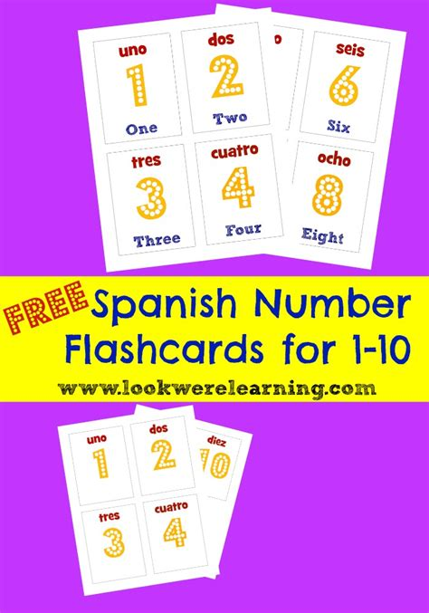 printable spanish numbers 1 10 foreign language archives look we re learning