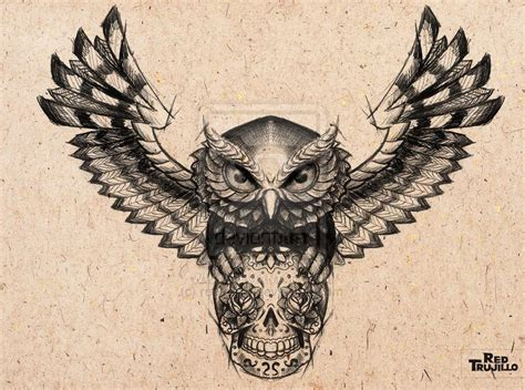 sugar owl tattoo design sugar skull owl tattoo ellenslillehjorne