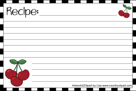 Recipe Card Clipart free printable recipe cards country clipart by