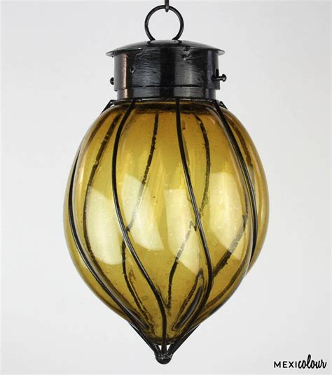 mexican pendant light blown clear glass wrought iron mexican pendant light