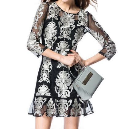 32215 Black Blue Sleeve S M L Dress slim embroidered neck dress vc32215mn on luulla