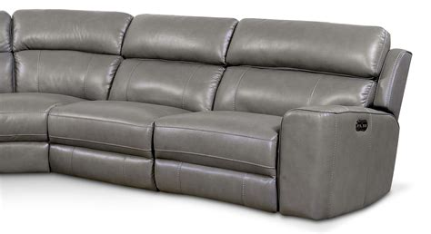 Gray Reclining Sectional by Newport 5 Power Reclining Sectional With 3 Reclining Seats Gray American Signature