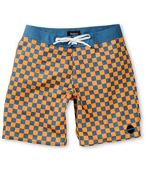 Zumiez Gift Card Generator - brixton generator blue orange checkered 19 board shorts