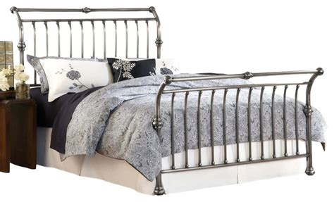 metal sleigh bed hillsdale markam metal sleigh bed antiqued nickel