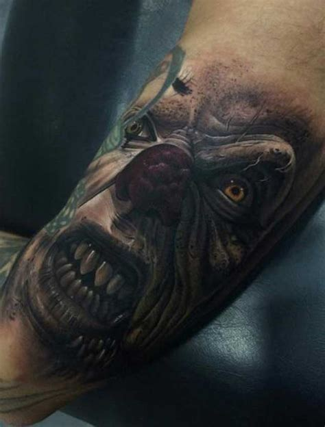 scary clown tattoos 20 horrifying clown tattoos that will haunt your dreams