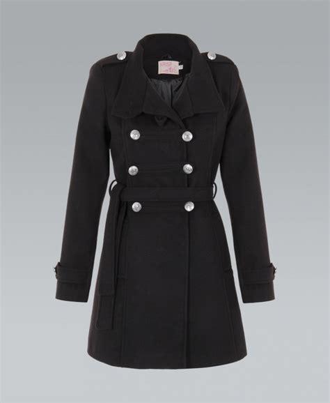 Black Coat krisp belted breasted woollen black coat