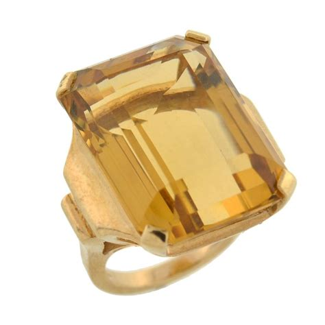 Ruby 5 70 Ct retro citrine gold cocktail ring 30ct for sale at 1stdibs
