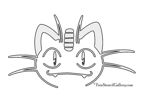 printable pumpkin stencils pokemon pokemon meowth stencil free stencil gallery