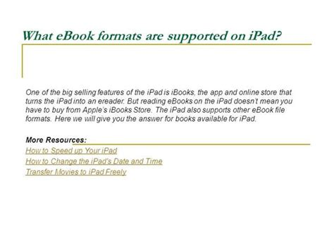ebook format support what ebook formats are supported on ipad authorstream