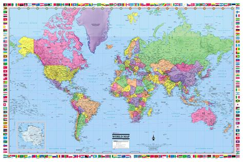 world map image 2017 world map poster 36x24 rolled laminated 2017