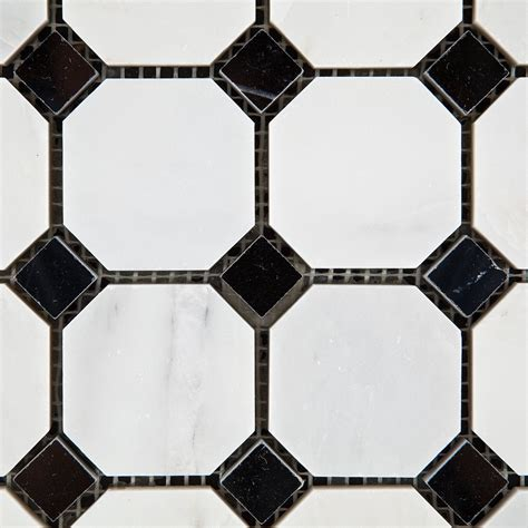 oriental eastern white marble octagon mosaic tiles black