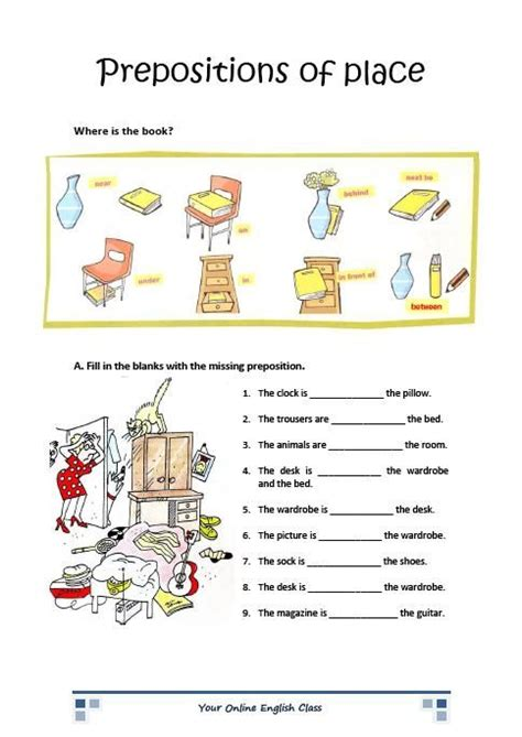 Esl Printable Worksheets Prepositions Of Place | english grammar prepositions of place worksheets for kids