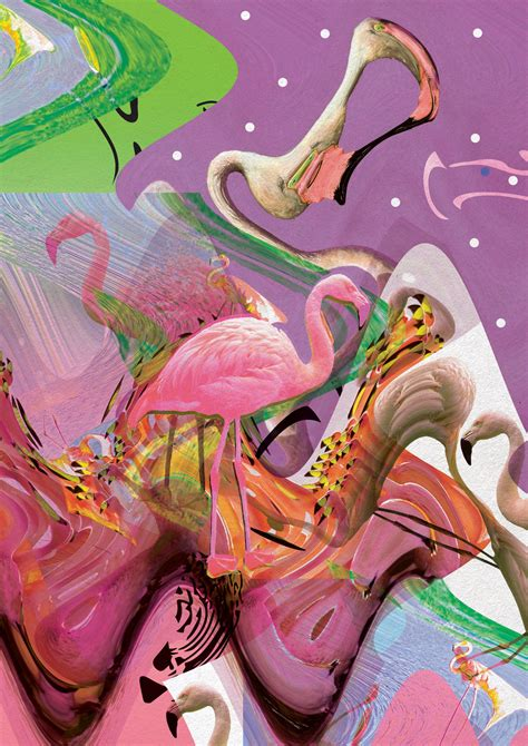 design art tumblr new art print flamingo acid trip vasare nar art
