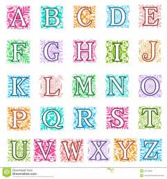 foliate and floral alphabet letters set royalty free stock