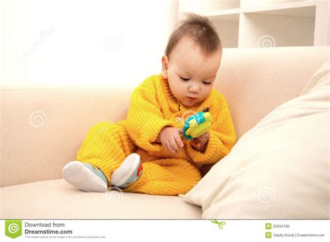 couch baby baby on sofa stock photo image 23934180