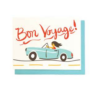 bon voyage card best wishes traveling illustrated