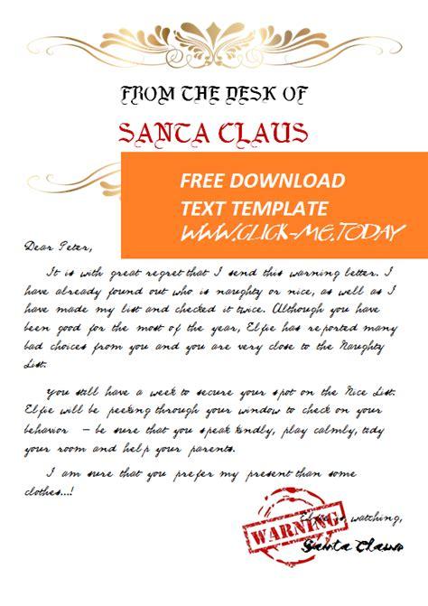 editable warning letter santa claus