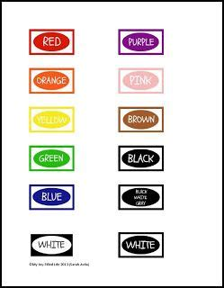 crayon label template crayon organization color labels printable busy bags